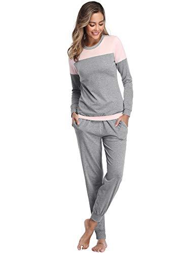 Aibrou Damen Patchwork Lange Zweiteilige Schlafanzug, Rundhals Pyjama Set Langarm Shirt und Hose Leichtgrau S