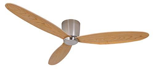 Decken Ventilator Airfusion Radar – Moderner Ventilator mit Ultraleichten Sperrholzflügeln in teak-Optik – mit Sommer-Winter-Modus – inkl. Fernbedienung – sehr flaches elegantes Design
