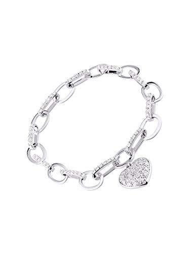 RYLOS - Bracciale da tennis con diamanti classici in oro bianco 14 K, con cuore di design e diamanti spettacolari, 6 1/2 '