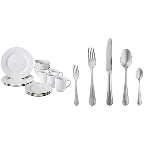 AmazonBasics - Vajilla para 4 personas (16 piezas) + – Juego de cubertería de acero inoxidable de 20 piezas con borde perlado, servicio para 4