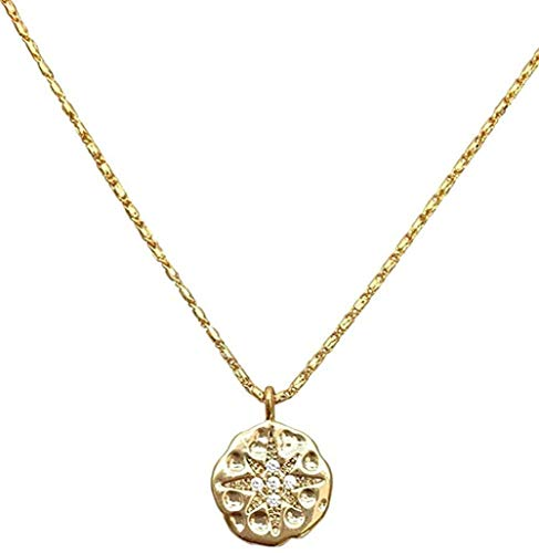 NC122 Collar Clavícula Cadena Medalla Redonda