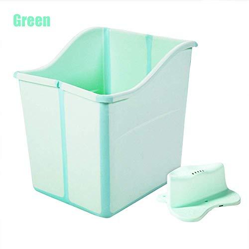 Relaxbx Draagbare Babybadkuip, Oversized Dikke Plastic Sauna Verdikt met Douchestoel Mannelijke Dochter Baby, Groen, addastool