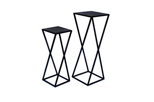LIFA LIVING Conjunto Dos mesas de jardín, mesitas Auxiliar para Plantas, mesillas Negras Madera y Metal para Dormitorio Dos tamaños, 26x26x73cm y 21,5x21,5x57cm