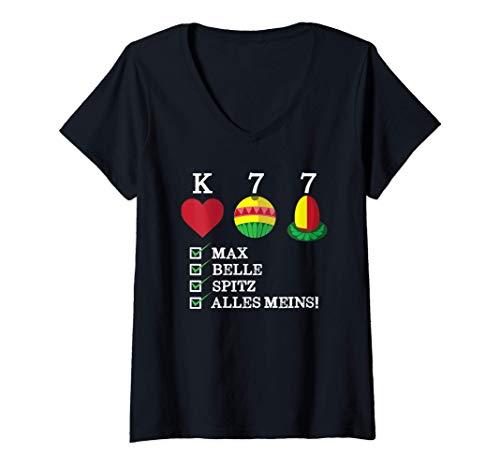 Damen Wattn bayerisches Kartenspiel Watten T-Shirt mit V-Ausschnitt