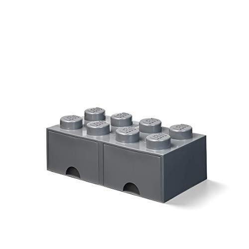 Room Copenhagen Cassettiera mattoncino Lego 8 Bottoni, 2 cassetti, Cassa portaoggetti impilabile, 9.4 l, Grigio Scuro