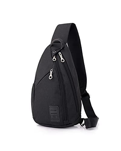 JDJD Bolso De Hombro Crossbody Hombre Casual Bolsa De Pecho Oxford Paño Outdoor Sports Messenger Bag Hombres Y Mujeres Bolso De Hombro (Color : Black, Size : 22 * 9 * 37cm)