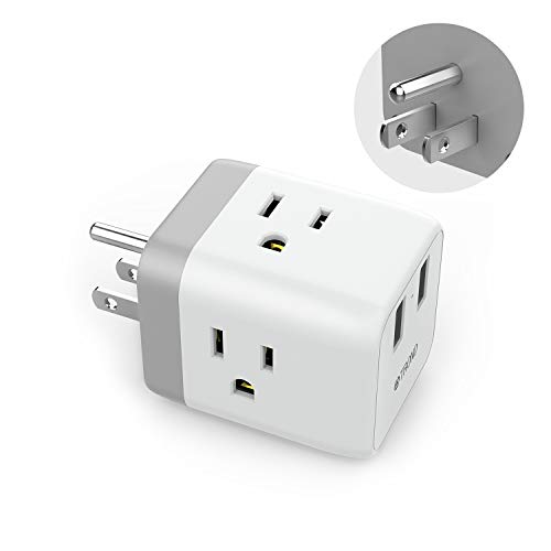 Outlet Splitter USB Wall Tap, ETL Listed, TROND Cruise Power Strip Multi Plug Outlet Extender with 2 USB Ports, Travel Adapter Cube Cruise Ship Accessories Must Have