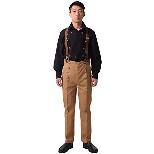Pantalones para hombre de Graceart Steampunk, estilo victoriano, gtico, punk, vampiro, arquitecto, pantalones Caqui (Pants+tirantes) M