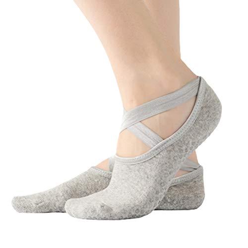 Guillala Calcetines de yoga antideslizantes suaves y transpirables de algodón con suela de goma y correa para yoga, baile, pilates, fitness, 1 par, color gris claro
