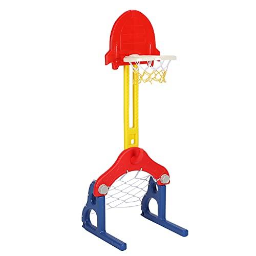 Basketballkorb für Kinder, 5 in 1 Fußballtor/Ringwurf/Darts/Golf, Sportzentrum Spielzeug für Kinder Baby Kleinkind Einstellbarer Easy Score Basketballkorbständer Outdoor und Indoor Sportspiele
