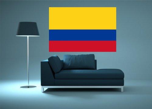 Kiwistar Wandtattoo Sticker Fahne Flagge Aufkleber Kolumbien 120 x 80cm