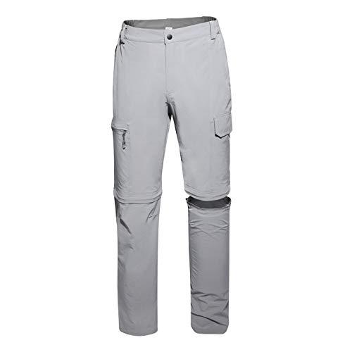 FEINION Men Outdoor Quick Dry Lightweight Waterproof Hiking Pants with Belt (36, Grey)