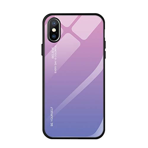 Hexcbay Custodia iPhone X XR - Custodia in Vetro temperato 9H con Dorso Doppio - Custodia Protettiva AntiGraffio con Morbido paraurti in TPU per iPhone XS Max (iPhone XR, Rosa Viola)
