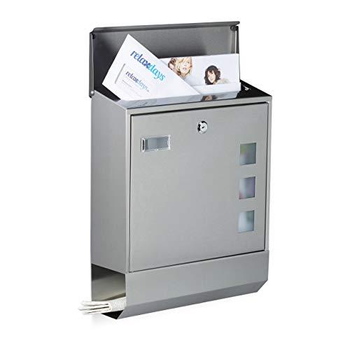 Relaxdays Briefkasten Edelstahl mit Zeitungsfach, Namensschild, Sichtfenster, HxBxT: 42 x 35 x 12,5 cm, Design, silber