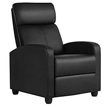 Yaheetech Recliner Chair PU Leather Recliner Sofa Home Theater Seating with Lumbar Support Overstuffed High-Density Sponge Push Back Recliners Armchair for Living Room