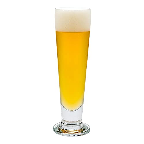 14 Ounce Tall Beer Glasses, Set of 12 Tall-Footed Pilsner Glasses - Tapered, Dishwasher-Safe, Clear Glass Beer Glass Set, Lead-Free, For Beers, Ales, or Cocktails - Restaurantware