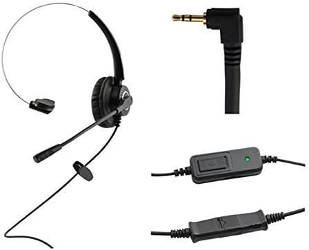 WirelessFinest Headset Headphones with Volume + Mute Control Replacement for Cisco SPA Series Spa303 Spa504g and Other, Polycom Soundpoint IP 320 330, Grandstream, Cortelco