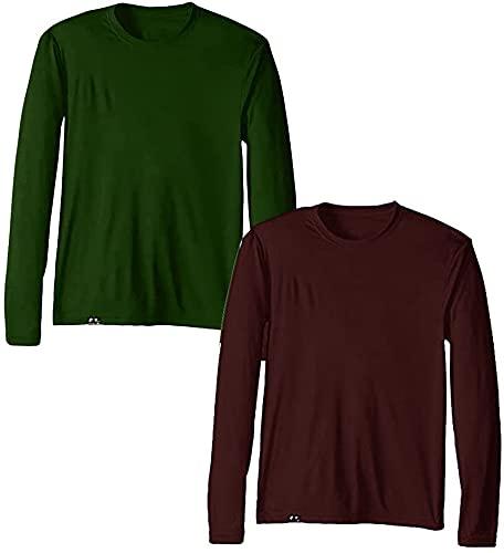 KIT 2 Camisetas UV Protection Masculina UV50+ Tecido Ice Dry Fit Secagem Rápida – M Vinho - Verde