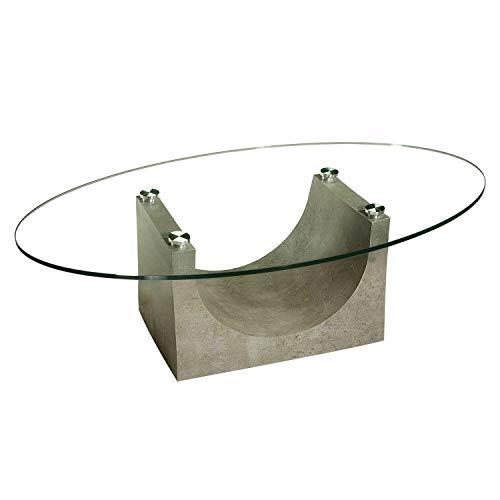 Faro-O181-A tischdesign24 *Werksverkauf* Couchtisch 12mm Glasplatte. Gestell in hochwertiger HPL-Ausführung mit Rollen. Größe: 125x80cm Tischplatte Klarglas oval Ausführung: Beton-Optik