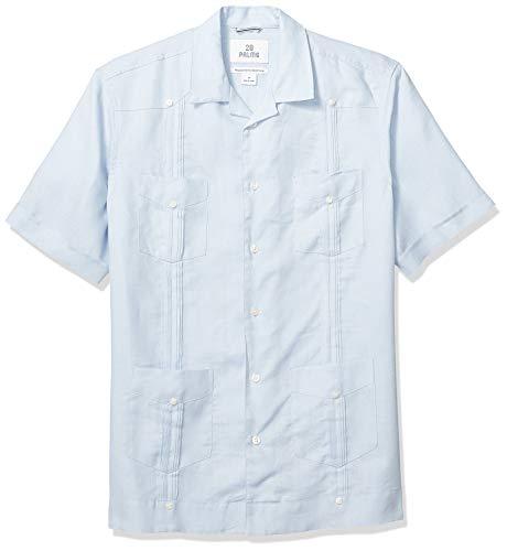 Amazon-Marke: 28 Palms Langarm-Hemd mit bequemer Passform, für Herren, aus 100% Leinen mit 4 Taschen, Plissee, Guayabera-Hemd, light blue, US S (EU S)