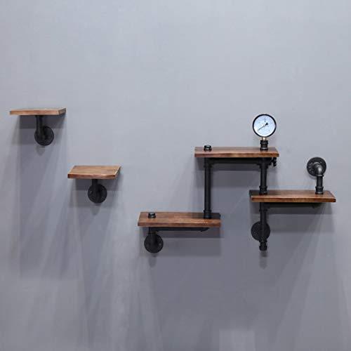 Étagères flottantes de style industriel rustique montées au mur de tuyaux en fer étagère lourde en bois minimaliste à 3 niveaux de supports d'affichage décoration de mur, meubles de stockage à la mais