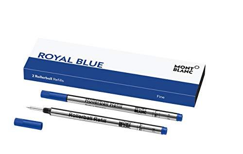 Montblanc Roller Minen Royal Blue 124501 – Blaue Ersatzmine für Roller Ball und Fineliner Größe F – 2 x Montblanc Refill Rollerball Fein