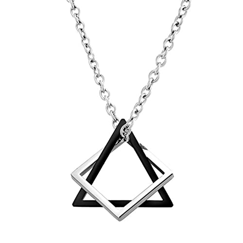 DALIU Cool Punk Masculino Cuadrado triángulo Colgantes Collar Indie Cadenas de Cuello para Hombres Collares Largos Hombres joyería estética