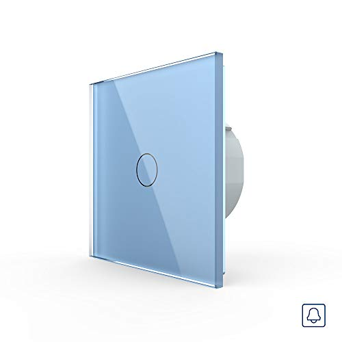 LIVOLO drukknop lichtschakelaar 1 vak Touch VL-C701B-19 blauw bont deurbel lichtschakelaar lichtschakelaar schakelaar wandschakelaar een vak aan glazen frame glazen paneel