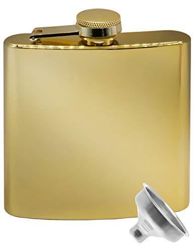 Outdoor Saxx® - Edelstahl Flachmann, goldenes Spiegel-Design, Flagon Brust-Tasche Taschen-Flasche, gratis Einfüll-Trichter, Tolles Geschenk, 175ml, Gold, verspiegelt
