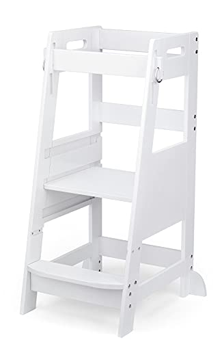 TOETOL Bamboo Toddler Kitchen Step Stool White Helper Standing Tower Height Adjustable with Anti-Slip Protection for Kids Kitchen Counter Learning
