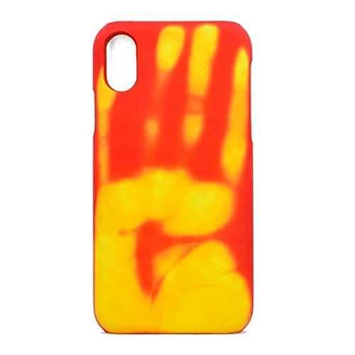 Casos de teléfono de Sensor de inducción térmicos para iPhone 12 Mini Pro MÁXIMO 11 Pro MAX XR SE2020 XS MAX X 6 7 8 Más Cubierta Protectora (Color : Orange, Material : For iPhone 5 5S SE)