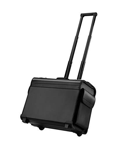 Leather Rolling Garment Bag Wheeled Luggage Briefcase Laptop Case Travel for Men & Women (DA03)