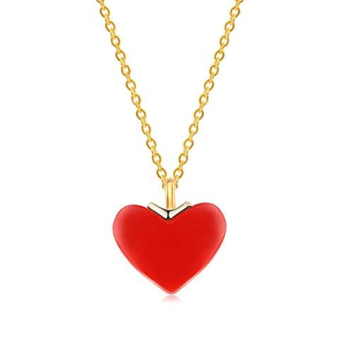 WDBUN Collar Colgante Collar pequeño Amor Colgante de Piedra de Coral Cadena de clavícula de Moda joyería de Plata Femenina Navidad Día de la Madre Día de San Valentín cumpleaños Regalo