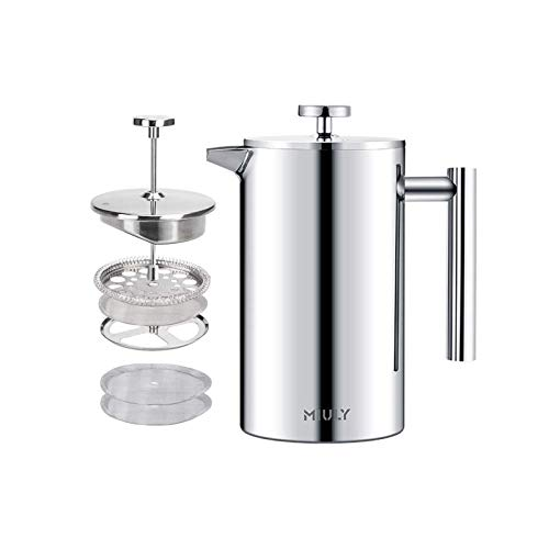 MIULY French Press Kaffeebereiter, 800 ml, 6 Tassen 350 ml Silber