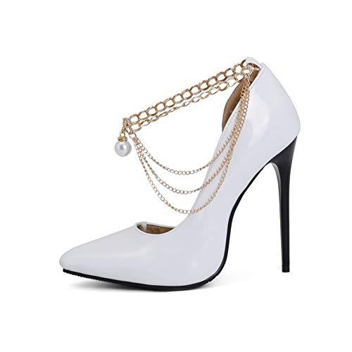 TYX Tacones Altos Damas, Punta Puntiaguda Charol Bombas, Cadena De Metal Zapatos Color Sólido, Tacones Súper Altos Elegante Sexy,Blanco,40