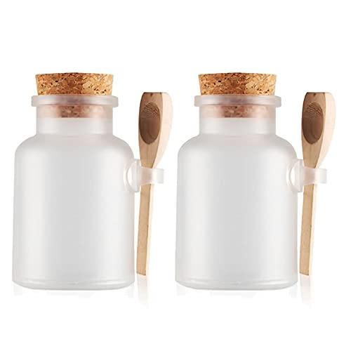TIANZD 2 Stück 500mlMatt Transparent Kunstoff Badesalz Dose Leere Tiegel Dosen Cremedose Leerdose Kosmetische SalbeBath Salt Behältermit Kork-Verschluss Holzschaufel
