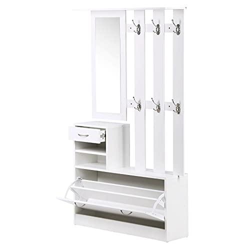 HOMCOM Conjunto de Muebles de Entrada Recibidor Pasillo Set de 3 Piezas Perchero Espejo Zapatero con Cajón 90x22x116cm Madera Blanco