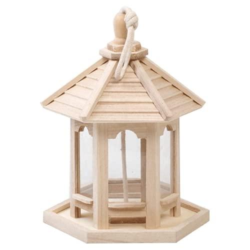 iconxc Träpaviljong fågelmatare bur trä undulat sparv volv trädgård vilda fåglar matningsdispenser tall aviary att hänga i trädgården och balkongen