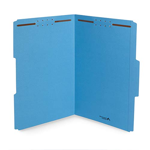 Blue Summit Supplies Blue File Folders with Fasteners, File Folders Legal Size, 1/3 Cut Reinforced Tabs, Durable 2 Prongs, Designed to Organize Standard Medical or Law Files, 50 Pack