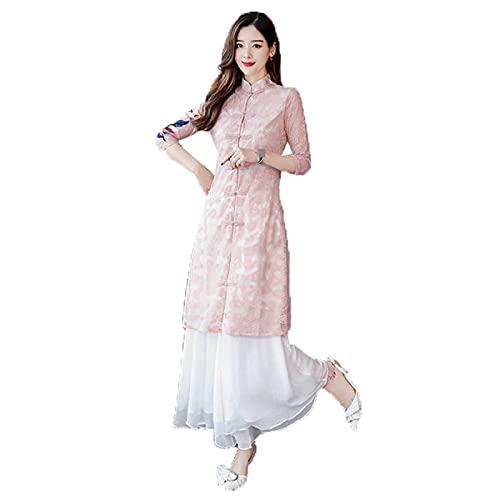 Cheongsam Vietnam Aodai vestido Qipao largo oriental vestido de mujer cuello mandarín floral grúa impresión vestido