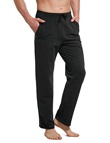 BALEAF Men's Cotton Yoga Sweatpants Lounge Pants Open Bottom Athletic Workout Running Loose Fit Sweat Pants with Pockets Black M