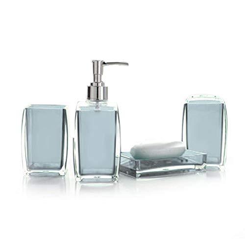 Mkiki Acryl 4 Teile Badezimmer Zubehör Set Seifenspender Flasche Seife Schale Tasse Zahnbürste Halterung Halter Caddy - Blau