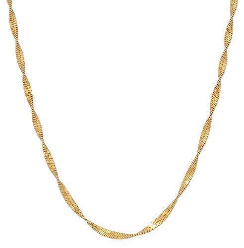 JUKSEREI Damen Halskette Twirl Necklace Gold - Kette ohne Anhänger Silber vergoldet - JUK-NCH383g