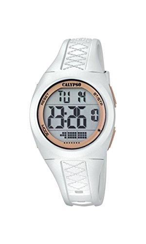 Calypso–Reloj Digital Unisex con LCD Pantalla Digital Dial y Correa de plástico Color Blanco K5668/1