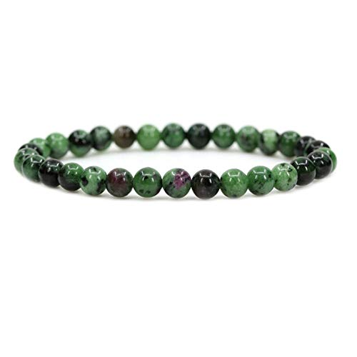 Angelstones Natural Ruby in Zoisite 6mm Round Beads Stretch Bracelet 7' Unisex