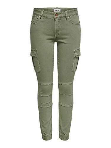 ONLY Damen Ankle Jeans Cargohose Missouri 15170889 Oil Green 38/30