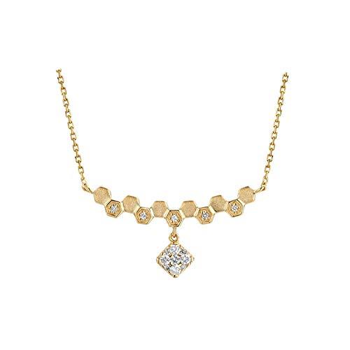 AtHomeShop Collar de oro de 18 quilates para mujer, 0,19 ct, con colgante de diamante blanco, forma de panal de abeja, pulido brillante, joya de oro real con caja de joyas para boda – oro