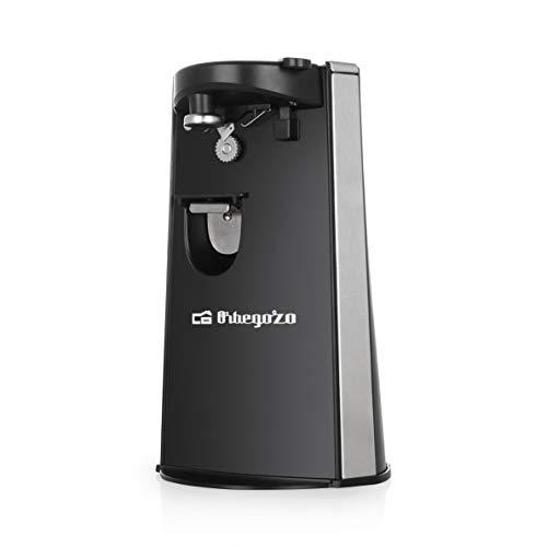 Orbegozo CU 6500 - Apriscatole elettrico, con apribottiglie e affilacoltelli, accensione automatica a pressione, potenza 60 W