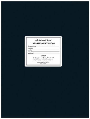 NATIONAL Brand Laboratory Notebook, 5 X 5 Quad, Black, White Paper, 11 x 8.5