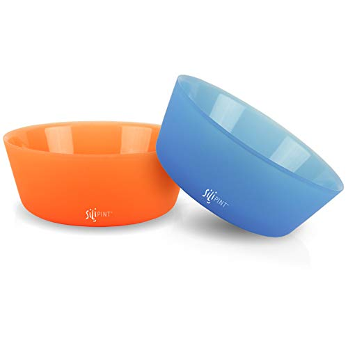 Silipint Silicone Bowl Set, U.S. Patented, Unbreakable, Flexible, Microwave Safe, Oven Safe, BBQ Safe, Indoor and Outdoor Use (2-Pack Blue, Tangerine)